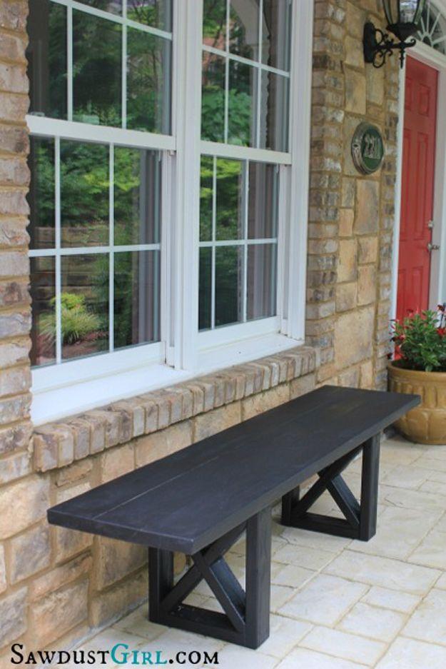 DIY X Leg Bench | Adding Cheap Curb Appeal by DIY Ready at  http://diyready.com/diy-ideas-home-improvement-on-a-budget/
