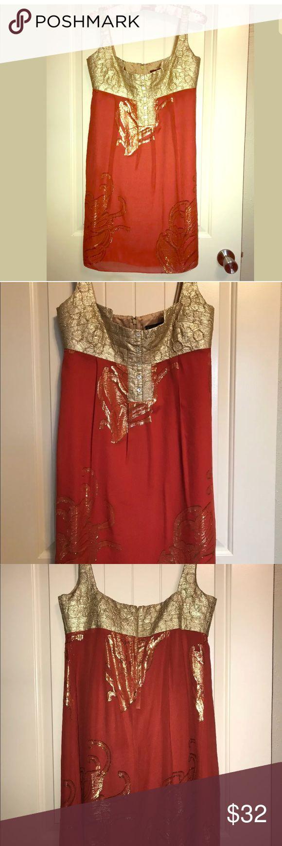 NICOLE MILLER Collection Gold Brocade Dress ~ Sz 8 NICOLE MILLER Collection Gold Brocade Lame' Party Dress Burnt Orange ~ Sz 8 Nicole Miller Dresses Midi