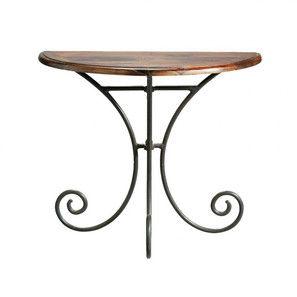 Table console demi-lune en fer forgé et bois de sheesham massif L 90 cm - Lubéron