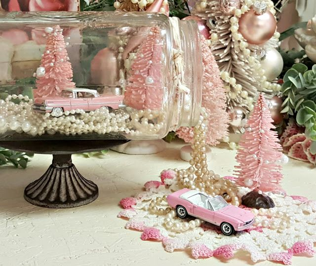 Penny's Vintage Home: White Ceramic Christmas Tree's and a Pink Lincoln