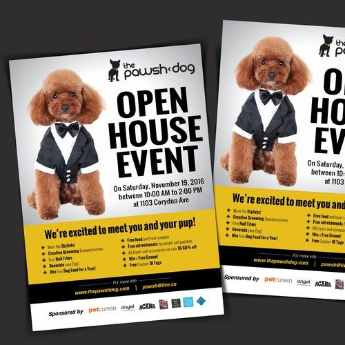 Open House Event Flyer For Pawsh Dog Salon The Pawsh Dog Is A Lifestyle Based Provider Of Luxury Canine Services Includ Dog Salon Creative Grooming Event Flyer