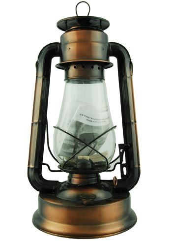 12 inch, Bronze plated. Powered by lamp oil or kerosene. Our Hurricane Lantern can prove very useful when electricity is not available, adding ambiance to your room or at the picnic table when camping. Use indoors or outdoors. Hurricane lanterns have been a part of American culture for over 150 years.