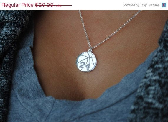 Custom Basketball Necklace with any number mirrored acrylic by Chicago Factory on Etsy, $20.00