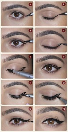 """""""I always use pen eyeliners because I think of it like a marker. Start with the …"""