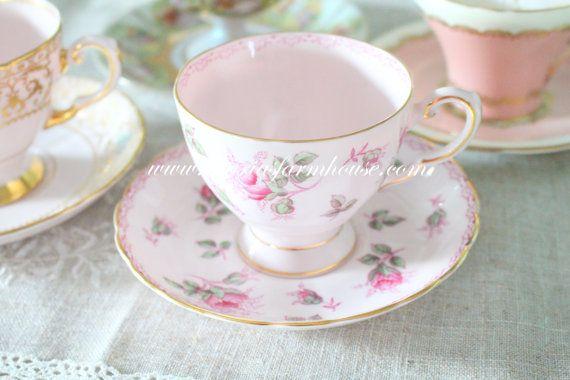 Thanksgiving Sale Vintage Pink English Fine by MariasFarmhouse
