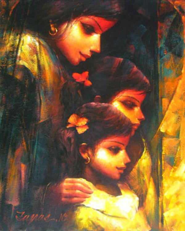 Buy Paintings Online by Artist Tapas Sardar - Affection - CE101436