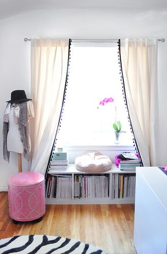 office window+bookshelf seat under the window+curtains DIY with tassels | Flickr - Photo Sharing!