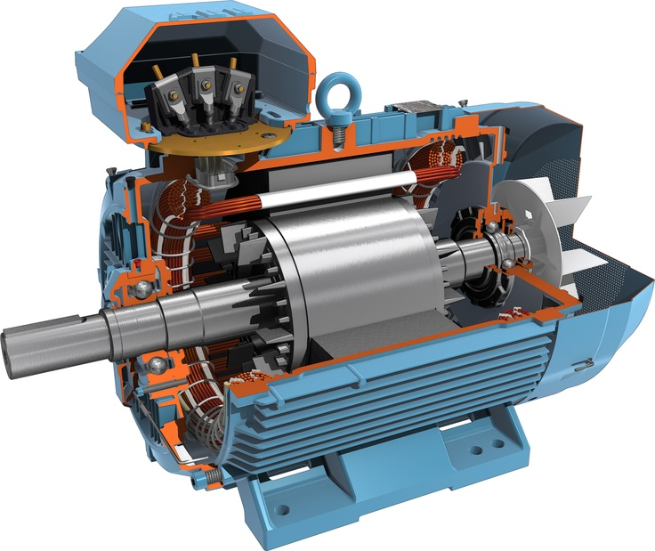 Quoarter cutted 3d model of abb motor 3d illustrations for Abb electric motor catalogue