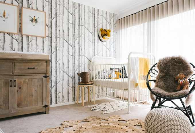 Love this wallpaper from Cole and Sons! Love the color palate of this nursery too