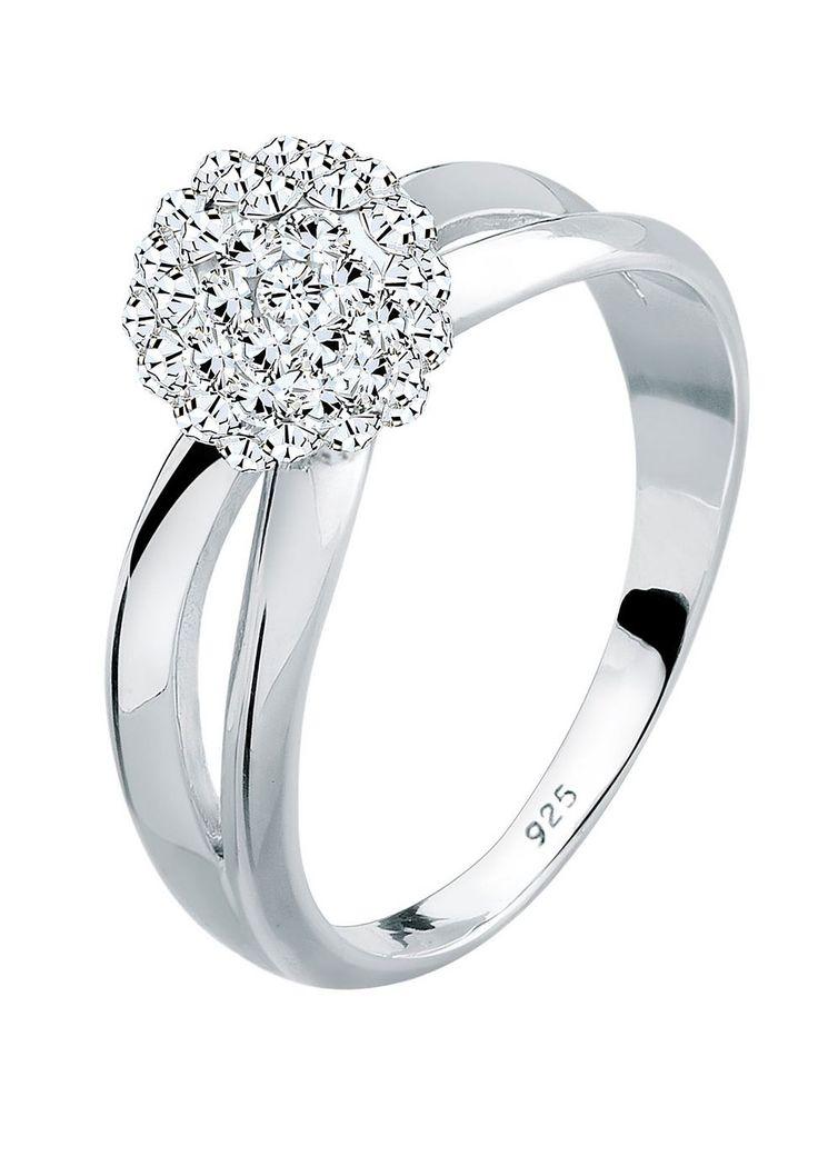 """Wunderschöner Ring aus feinem 925er Sterlingsilber, hochglanzpoliert, mit einer Kugel (6mm) besetzt mit 65 funkelnden Kristallen von Swarovski (1.5mm) in CRYSTAL, einem strahlenden Weiß.  Weitere Hilfe zur Ringgröße:  Angegebene Größe in mm entspricht """"Ring Innen-Umfang"""", Umrechnung in """"Ring Durchmesser Ø"""" wie folgt:  52mm Umfang = 16,5mm Ø 54mm Umfang = 17,2mm Ø 56mm Umfang = 17,8mm Ø 58mm Umf..."""
