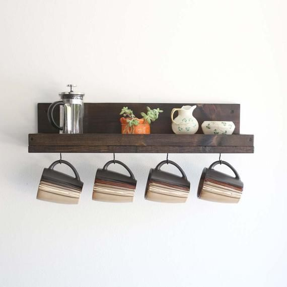 Coffee Mug Shelf With Hooks Wall Mounted Coffee Mug Rack Etsy Coffee Mug Wall Rack Mug Wall Rack Mug Rack