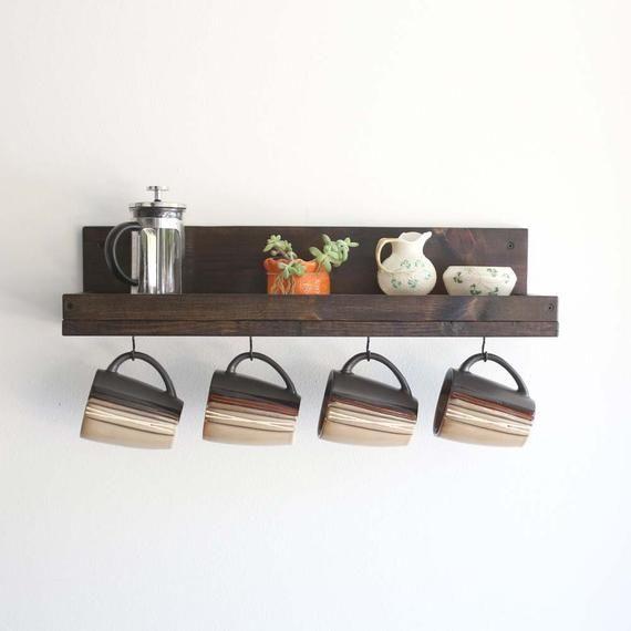Coffee Mug Shelf With Hooks Hanging Mug Rack Coffee Cup Mug Rack Coffee Mug Holder Coffee Bar Shelf Organizer Perchero De Madera Decoracion De Unas De Madera