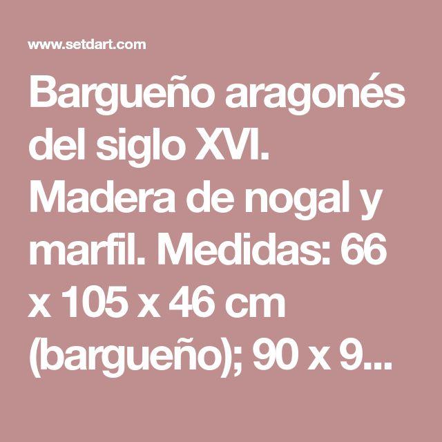 Bargueño aragonés del siglo XVI. Madera de nogal y marfil. Medidas: 66 x 105 x 46 cm (bargueño); 90 x 93 x 55 cm (mesa)