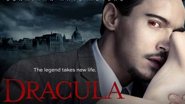Dracula 2013 (Oct25 NBC S1 10E) poster • stars: Jonathan Rhys Meyers as Alexander Grayson (count Dracula) + Nonso Anozie as assistant R.M. Renfield + Victoria Smurfit as Lady Jayne Wetherby (Vampire expert) + Katie McGrath as D's obsession Lucy Westenra + Ben Miles as evil oil man cultist Browning • depicted: wallpaper by HDWallpapersin.com)