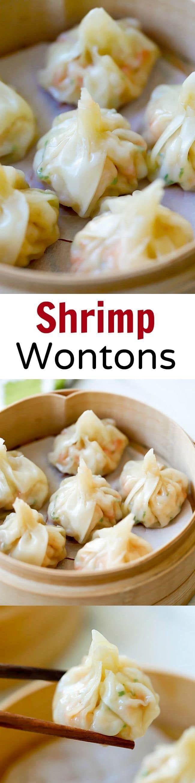 Shrimp wontons – easy peasy shrimp wontons recipe with shrimp, wrapped with wonton skin and boil/steam. SO easy & delicious!!! | rasamalaysia.com
