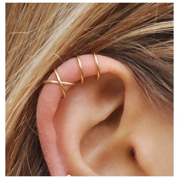 Set of 2 Ear Cuffs, Ear Cuff, No Piercing,Earcuff,Double Ear Cuff and... ❤ liked on Polyvore featuring jewelry, earrings, fake earrings, imitation earrings, artificial jewellery, earring jewelry and artificial jewelry