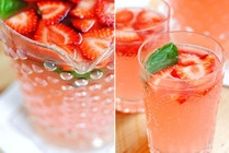 Easy strawberry basil margaritas. Water, strawberries, tequila, and limeade concentrate, basil leaves