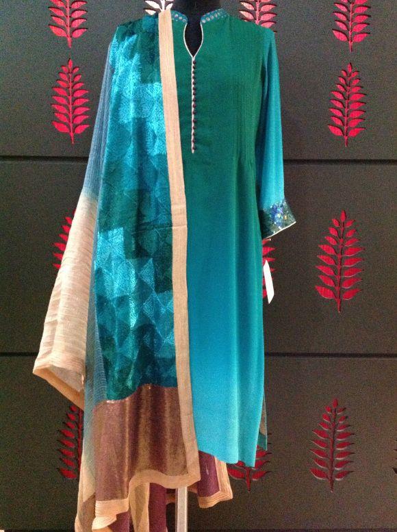 Shaded georgette shirt with phulkari on chanderi dupatta, lycra crepe churidaar