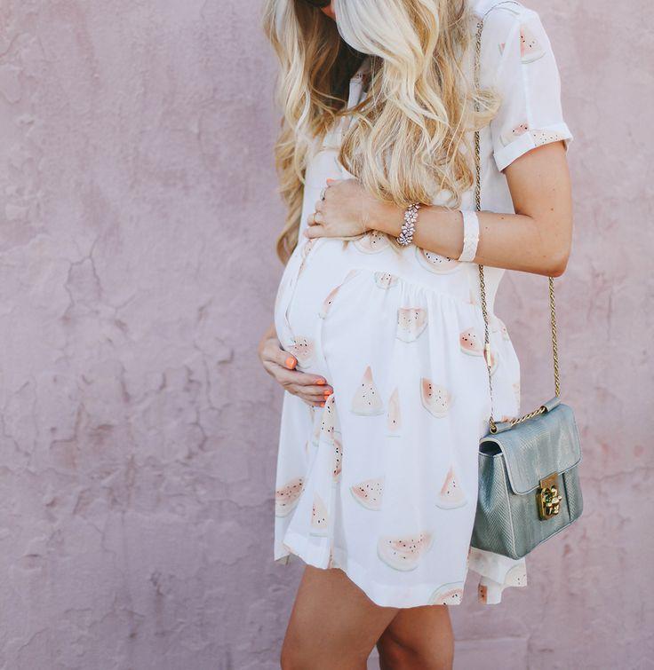 Maternity Fashion-Watermelon print dress. Cute!