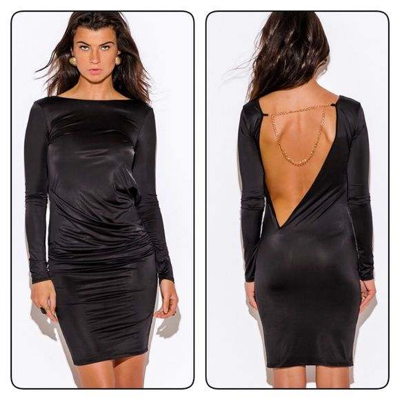 Black backless midi party dress This Insanely Sexy Yet Classy Party Dress Is Made For An Unforgettable Night. This EveningDress An Amazing Edgy Architectural Structure. Matte Slinky Fabric Drapes SultrilyOn Body. Fitted With Lots Of Stretch. Unlined. 95% Polyester, 5% Spandex. Dresses Midi