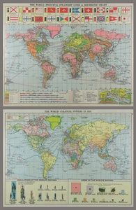 The World - Principal Steamship Line & Isochronic Chart / The World - Colonial Powers in 1919 | Sanders of Oxford