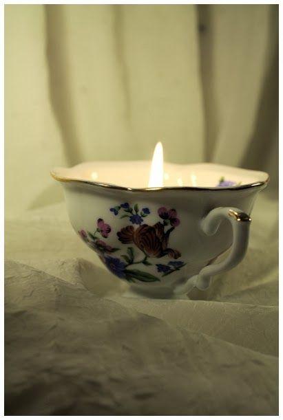 świeczka w filiżance DIY www.rekodzielo-art.pl
