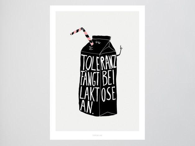 "Kunstdruck ""Toleranz"", Laktoseintoleranz / funny art print by typealive via DaWanda.com"