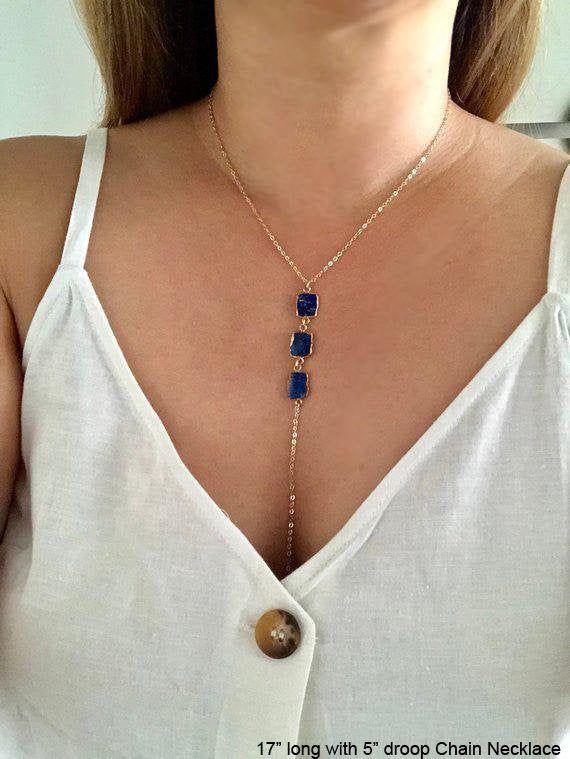 Lapis Lazuli Lariat Necklace Lapis Necklace Blue Gemstone Etsy Special Necklace Blue Gemstones Lariat Necklace