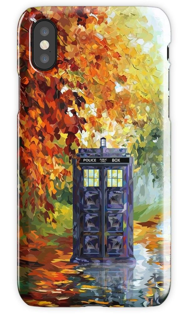 Blue Phone booth with autumn views iPhone 4, 5, 6, 7, 8, X Cases & Skins #Case #CellPhone #iPhonecase #hardcase #DoctorWho #tardis #britishphonebox #theDoctorWho #whovian #badwolf #werewolf #parody #TVseries #abstract #VanGogh