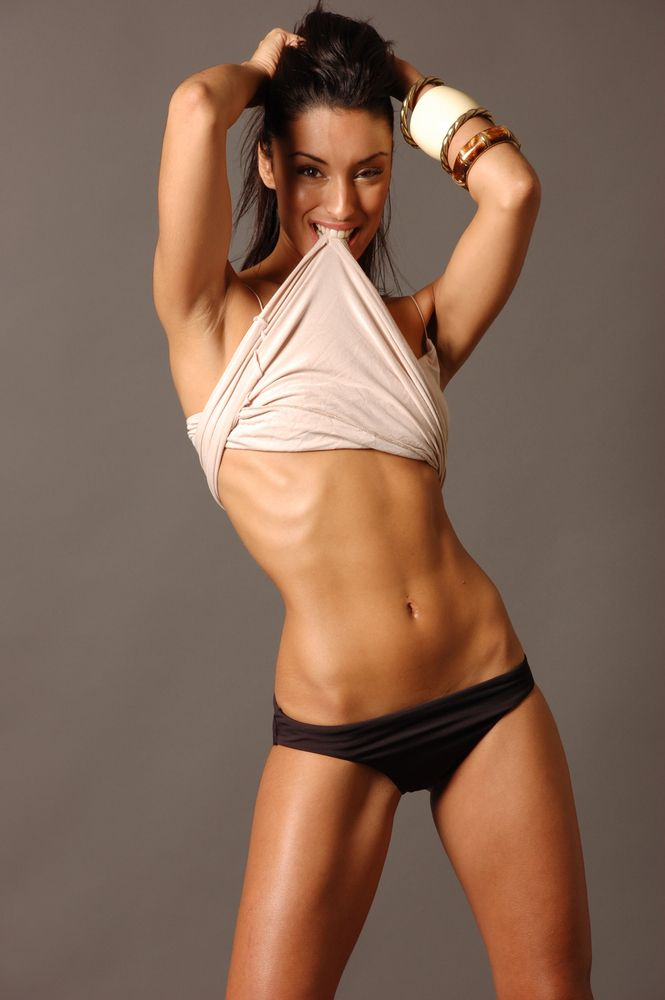Fitness Women With Six Pack Abs Ab Work Out  Sexy Female -3687