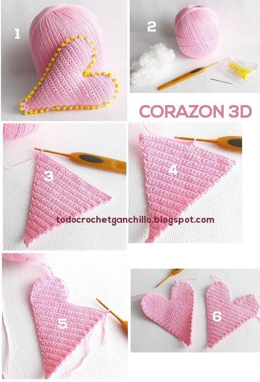 Corazón Crochet 3D / Paso a paso | Todo crochet                                                                                                                                                      Más