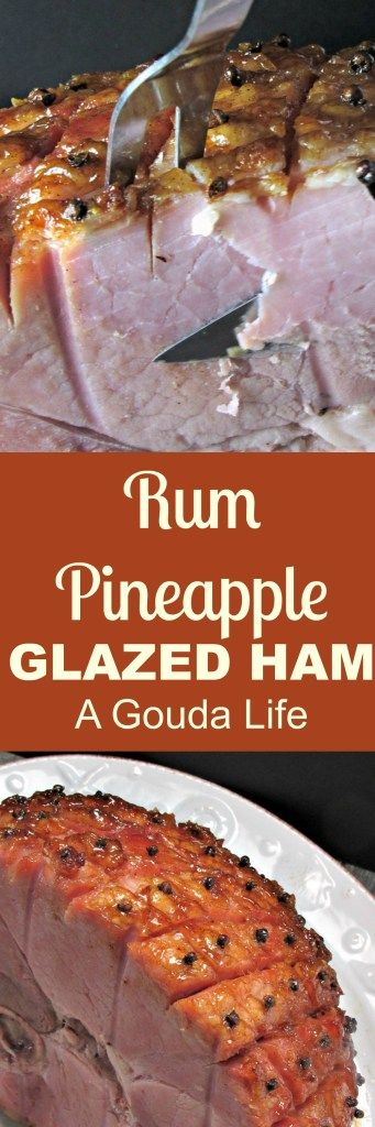 Rum Pineapple Glazed Ham ~ baked ham with a delicious tropical rum-pineapple glaze for a sweet-salty flavor, ideal for any get-together.
