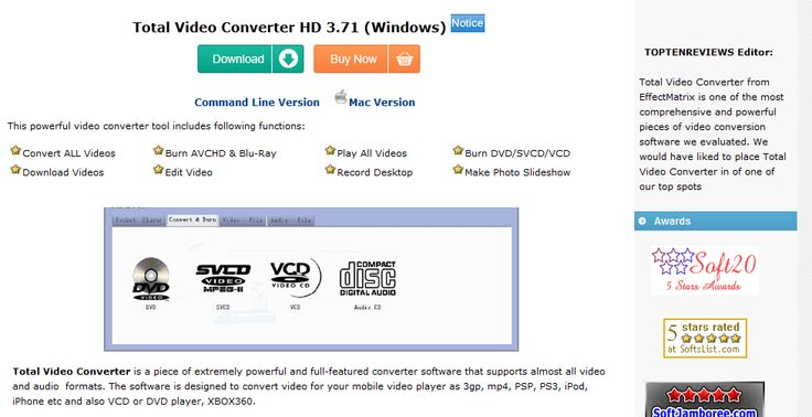 Video Converter - Total Video Converter from EffectMatrix is one of the most comprehensive and powerful pieces of video conversion software we evaluated.