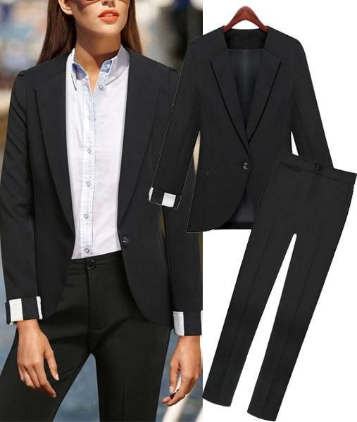 2015 Spring Fashion Women Business Suits Formal Office Suits Work with Pants Trouser Black Blazer XXXL Clothing Workwear 1416, $35.4 | DHgate.com