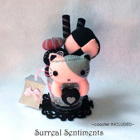 Pink Dusk Cat Parfait. Surreal Gifts, Pastel Goth Plush, Kawaii Goth, Gothic Lolita, Tokyo Pop Cat Plush, Birthday Gift, Cat Lovers Gift