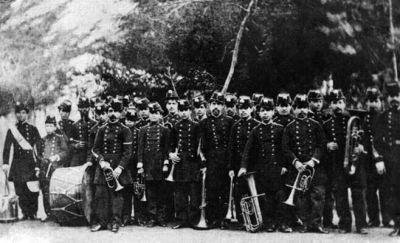 Integrantes de la banda de música de la Guardia Municipal de Valparaíso que fueron a la Guerra del Pacífico como Batallón Valparaíso.