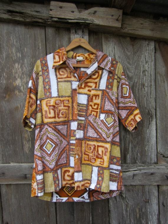 60s Reverse Print Hawaiian Shirt, Men's M-L // Vintage Tropical Tiki Aloha Hawaii Shirt