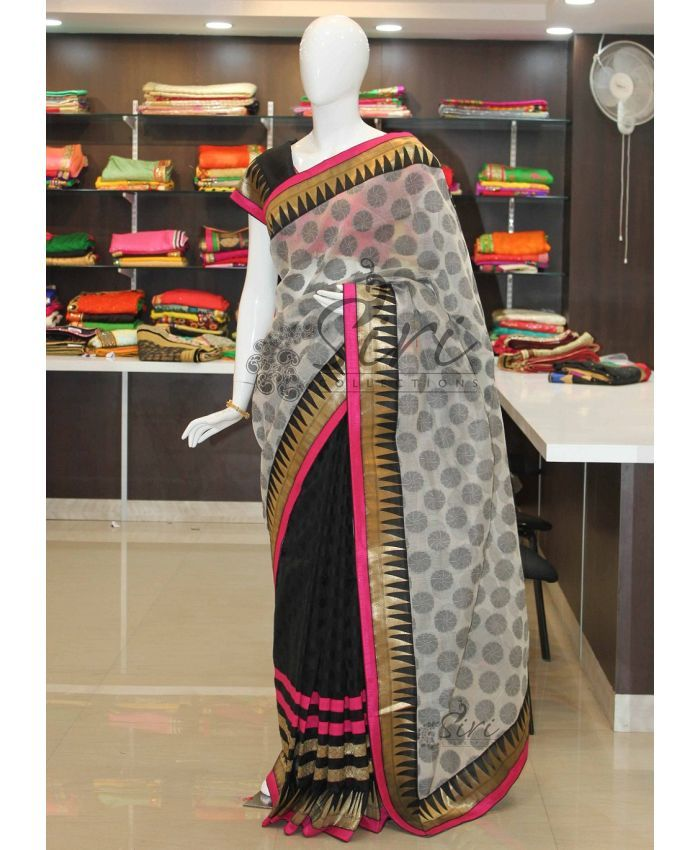 Patli Pallu Chanderi Saree with Fancy Brocade Borders