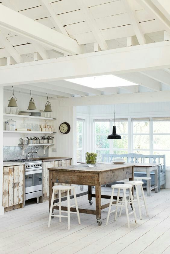 Stunning Exposed Ceiling, reclaimed island