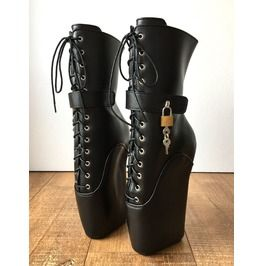 Beginner Lock-Strap Shoes Ballet Wedge Boots Hoof Fetish Pinup Dominatrix (For some reason, I seriously LOVE these!)