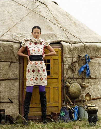 The dream life wearing awesome fashions and living in a yurt