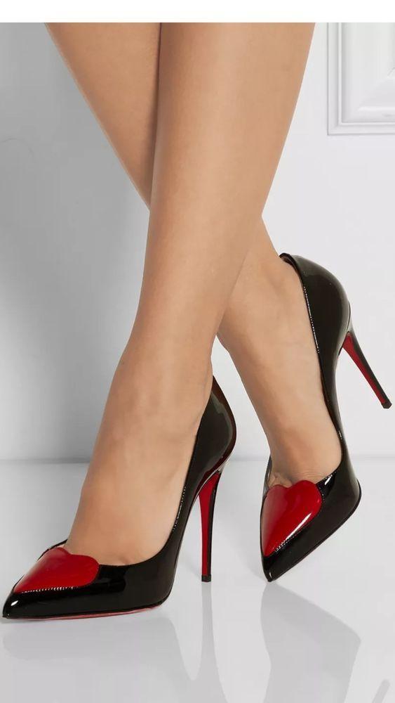 23e50524594 100% Authentic Christian Louboutin Women Black Patent Red Heart ...