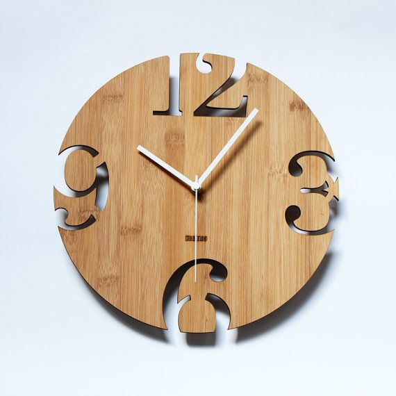 Unique Wall Clocks | Unique Bamboo Wall Clock Numeric Cutter by HOMELOO on Etsy: