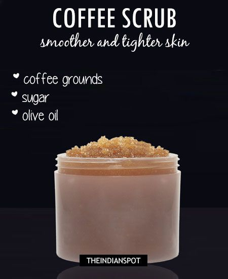 Coffee face and body scrub: COFFEE BEAUTY RECIPES Integrating coffee in your beauty regime is easy. Here are some of the simplest ways of using coffee in your beauty recipes: Exfoliation is an important step to keep your skin clean and smooth. Try using your homemade coffee scrub which not only exfoliates your skin