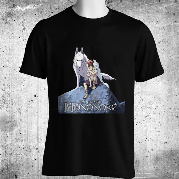 Princess Mononoke Anime Black T-Shirt FREE SHIPPING
