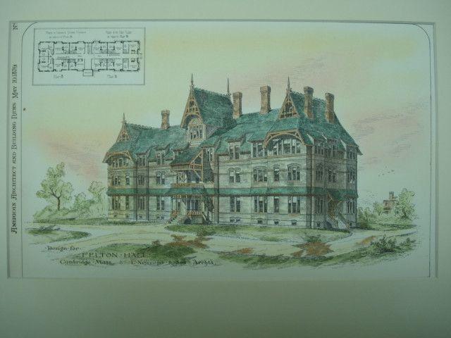 Felton Hall , Cambridge, MA, 1879, L. Newcomb & Son