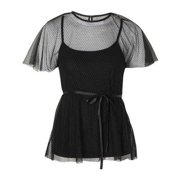 Topshop Spot Mesh Belted Batwing Top ($38) ❤ liked on Polyvore featuring tops, dot top, polka dot top, batwing tops, topshop tops and mesh top