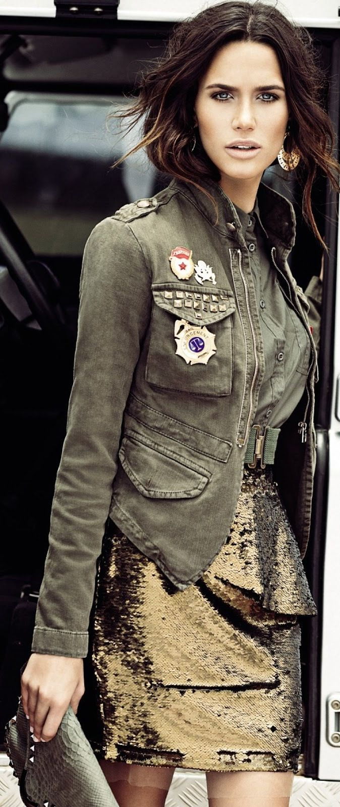 Fall street style - Rhayene Polster Vogue Brazil March 2013, military jacket and glitter gold skirt