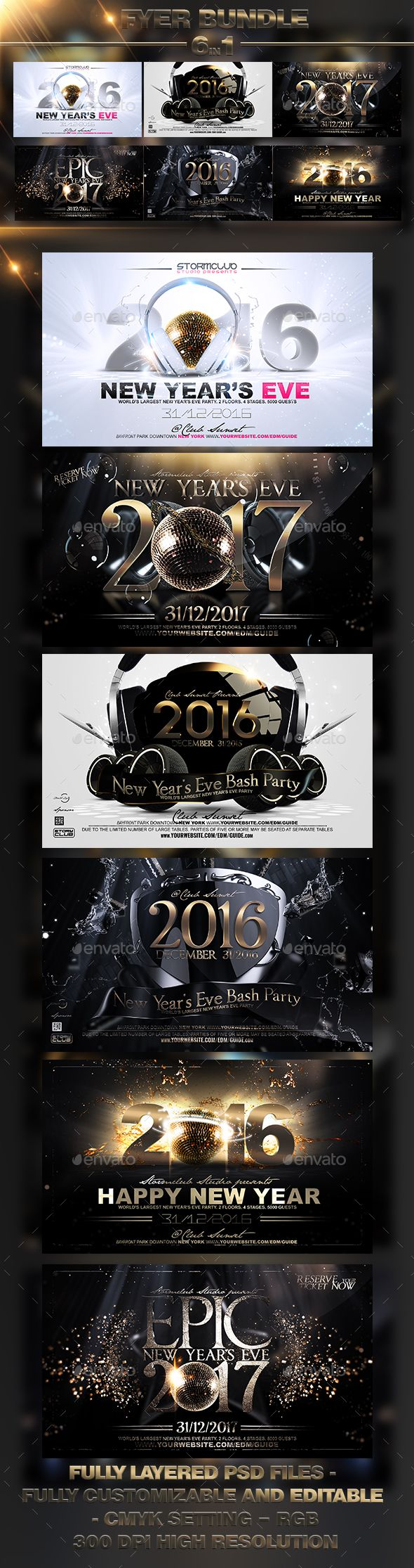 NYE Flyer Bundle Templates PSD #design Download: http://graphicriver.net/item/nye-flyer-bundle/13796288?ref=ksioks