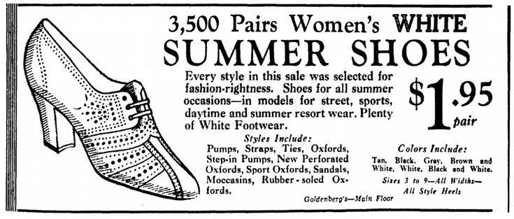 """Ad for summer shoes, published in the Evening Star newspaper (Washington, D.C.), 13 May 1934. Read more on the GenealogyBank blog: """"Vintage Fashion: Our Ancestors' Summer Apparel."""" http://blog.genealogybank.com/vintage-fashion-our-ancestors-summer-apparel.html"""